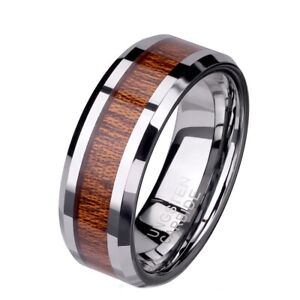 Brown Wood Inlay 8mm Tungsten Carbide Wedding Band Engagement Ring Sz 9-13