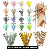 25Pcs Drink Paper Straws For Birthday Party Wedding Supplies Baby Shower Decor