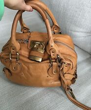 Authentic CHLOE Logo Paddington Charm Hand Leather Brown Bag