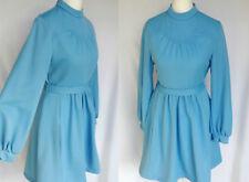 Vintage 60s 70s Blue Crimplene Mod Lolita Scooter Babydoll Mini Dress S-M UK 10