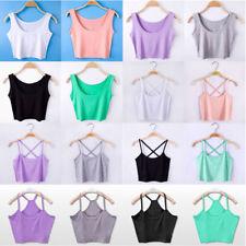 Women Summer Sleeveless Shirt Tank Tops Cami T-Shirt Vest Crop Top Blouse