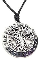 Pentacle Tree of Life Pendant Runes Pagan Wiccan on Adjustable Cord Necklace