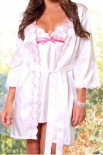 Pink/Floral Satin Sleepwear Women Satin Robes Lovely Day Lingerie S/M & L/XL