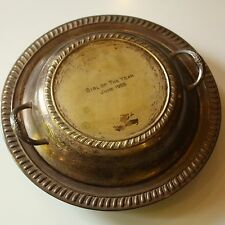 """Vtg Antique """"Girl of the Year"""" 1955 Trophy Covered Bowl Dish Silverplate Award"""