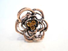 small mini rose gold copper metal gold crystal flower rose hair claw clip