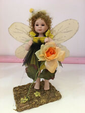 New In Box BUMBLE BEE FAIRY All Porcelain Doll with Grass Forest Stand