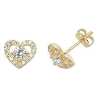 Genuine 9CT Yellow Gold CZ Heart Stud Earrings 0.70 Grams Gold Earrings