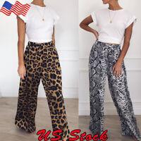 Women Wide Leg Flare Leopard Print Bell Bottom Stretch High Waist Pants Trousers