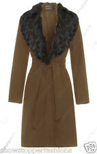 New Womens Wool Blend Winter Coat Detachable Fur Collar Long Jacket Size 8 to 16