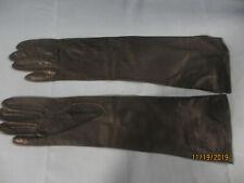 "Black leather Italian gloves 14"" long size 6.5"
