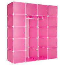 Etagère enfichable XXL penderie à vêtements rangement 147x47x183cm meuble rose