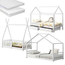 Kinderbett + Matratze Haus Tipi Holz Hausbett Bett Bettkasten Rausfallschutz