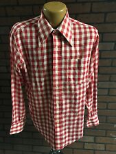 Now Breed by Campus Vintage Tab Collar Button Down Shirt Men 15-15 1/2 Red/White