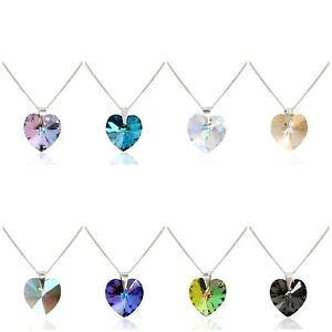 Sparkling crystal heart pendant made from Swarovski Crystal  With  Silver chain