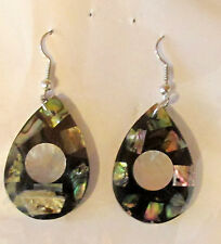 Abalone Shell Cut Molded Teardrop Stainless Wires Ear Rings New in Package