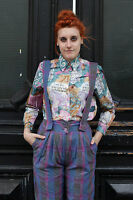 Damen Bluse blouse Latein Latin lila violet blau 90er True VINTAGE 90´s women