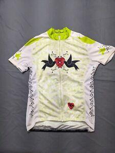 Pearl Izumi Full Zip Cycling Jersey Bike Shirt Love Birds Graphic Women's Large