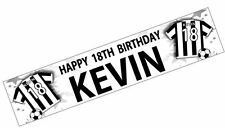 PERSONALISED BANNERS NAME AGE PHOTO BIRTHDAY FOOTBALL 71st 72nd black white K5