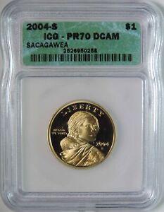 2004 S Proof Sacagawea Dollar $1 Coin ICG Graded PR70 DCAM Deep Cameo