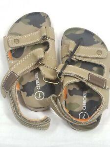 Cherokee Boys Cargo Ref Brown Beige Sandals - Size 7 Display Shoes