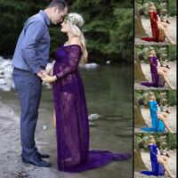Pregnant Women Front Split Long Maxi Maternity Dress Gown Photo Photography Prop