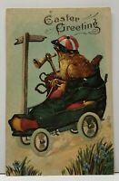 Easter Greetings Chick Driving Shoe on Wheels 1909 Embossed Postcard G1