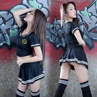 Sexy Cosplay School Girl Students Uniform Costume Sailor Anime Fancy Dress Skirt
