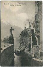 1925 Lago Como Punta Balbianello approdo barca Brooklyn USA FP B/N VG ANIM