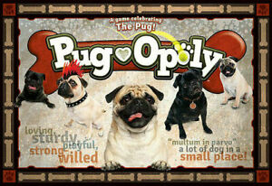 Pugopoly board Game, dogs. monopoly, pug.