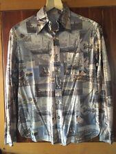 Vintage 70s polyester shirt Men's size medium Sail Boats