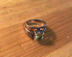 Shablool Didae Israel 925 Silver Peridot Ring Sz. 9