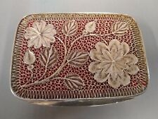 Foreign silver pierced box,with floral design.