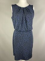 Matalan Papaya Size 16 Blue Black Leopard Print Dress Cinched Waist
