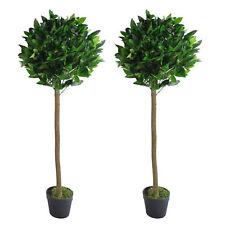 Pair of 120cm (4ft) Plain Stem Artificial Topiary Bay Laurel Ball Trees LEAF-...