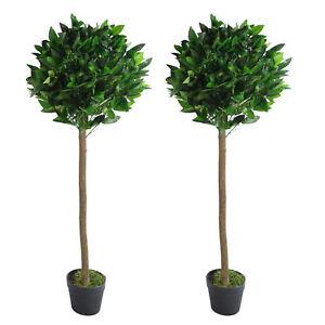 Pair of 120cm (4ft) Plain Stem Artificial Topiary Bay Laurel Ball Trees