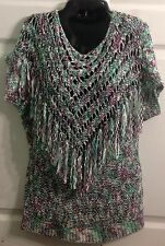 BCBG Max Azria Women's Purple Green White Lose Knit Fringe Top Sz M NWT $160