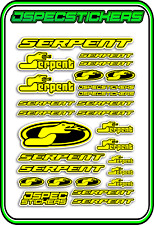 RC STICKERS MODEL CAR SERPENT RACING BRUSHLESS F1 1/10 DRIFT 1/8 BUGGY YELLOW B