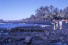 KODACHROME 35mm Slide Hawaii? Black Sand Beach Lava Rock People Palm Trees 1962!