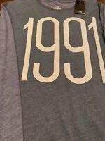 NWT A/X Armani Exchange Men's XL Blue/Gray Long Sleeve Crew Neck T-Shirt 1991