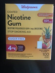 Walgreens Nicotine Gum 4 Mg 100 Ct Fruit Freeze Flavor Exp 01/23 Free Shipping