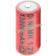 1x D size 1.2V 13000mAh Ni-MH Red Color Rechargeable Battery USA