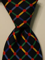 BULLOCK & JONES Men's 100% Silk Necktie ENGLAND Luxury Geometric Blue/Multi EUC