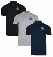 Crosshatch Casual Cotton Polo Shirt T-shirt Retro Top New Grey Navy Blue DD12