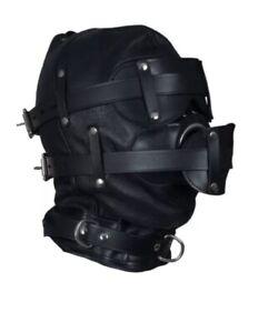 Genuine Leather Total Sensory Depriviation Bondage BDSM Hood Mask