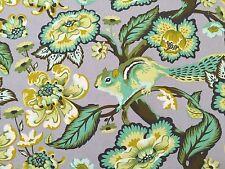 By 1/2 Yard ~ Free Spirit Tula Pink Fabric Chipper ~ Chipmunk Mint ~ gray floral