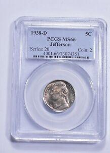 RARE - Graded MS66 1938-D Jefferson Nickel - Graded By PCGS *382
