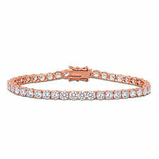 Amour Rose Plated Sterling Silver 18 4/5ct TGW Cubic Zirconia Tennis Bracelet