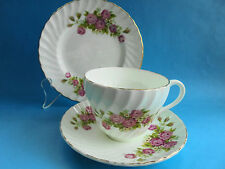 CROWN STAFFORDSHIRE TRIO TEA CUP SAUCER & PLATE PINK ROSES