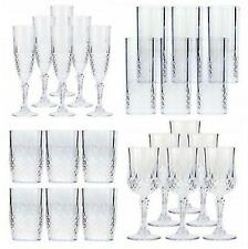 More details for 6 x vintage clear crystal effect plastic glasses drinking picnic garden acrylic