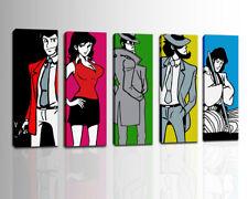Set 5 Quadri Moderni Lupin Dipinti a Mano Su Tela Canvas Pop art Colori Vivaci